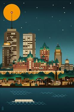 Quebec, Canada - Retro Skyline (no text) by Lantern Press