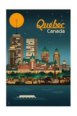 Quebec, Canada - Retro Skyline by Lantern Press