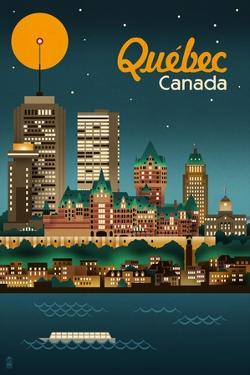 Quebec, Canada - Retro Skyline by Lantern Press