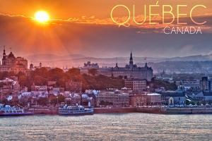 Quebec, Canada - Sunset over City by Lantern Press