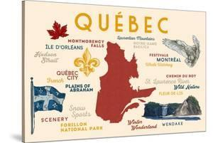 Quebec, Canada - Typography and Icons by Lantern Press
