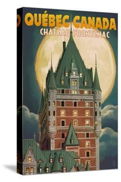 Quebec City, Canada - Chateau Frontenac and Full Moon by Lantern Press