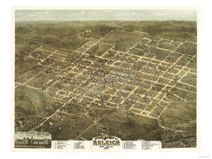Raleigh, North Carolina - Panoramic Map by Lantern Press