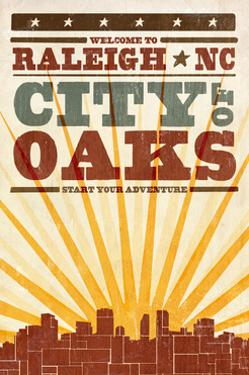 Raleigh, North Carolina - Skyline and Sunburst Screenprint Style by Lantern Press