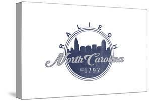 Raleigh, North Carolina - Skyline Seal (Blue) by Lantern Press