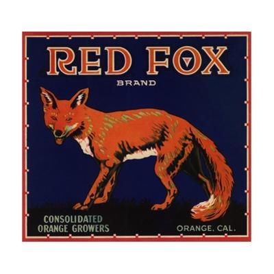 Red Fox Brand - Orange, California - Citrus Crate Label by Lantern Press