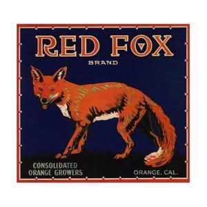 Red Fox Brand - Orange, California - Citrus Crate Label by Lantern Press