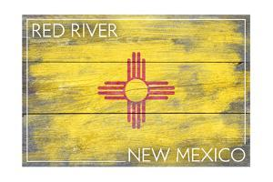 Red River, New Mexico - State Flag - Barnwood Painting by Lantern Press
