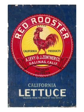 Red Rooster - Vegetable Crate Label by Lantern Press