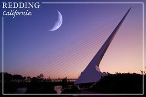 Redding, California - Sundial Bridge and Moon - Lantern Press by Lantern Press
