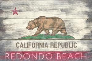 Redondo Beach, California - Barnwood State Flag by Lantern Press