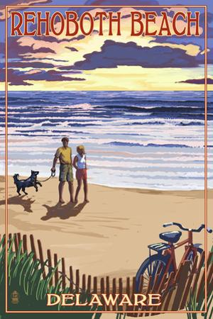 Rehoboth Beach, Delaware - Beach and Sunset by Lantern Press