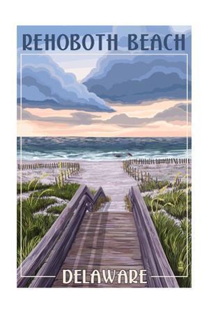 Rehoboth Beach, Delaware - Beach Boardwalk Scene by Lantern Press
