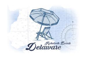 Rehoboth Beach, Delaware - Beach Chair and Umbrella - Blue - Coastal Icon by Lantern Press