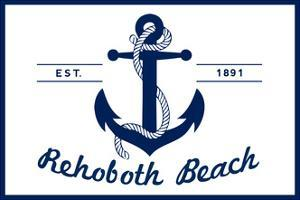 Rehoboth Beach, Delaware - Blue and White Anchor by Lantern Press