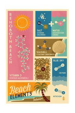 Rehoboth Beach, Delaware - Chemical Beach Elements by Lantern Press