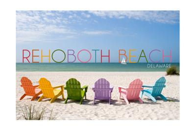 Rehoboth Beach, Delaware - Colorful Beach Chairs by Lantern Press