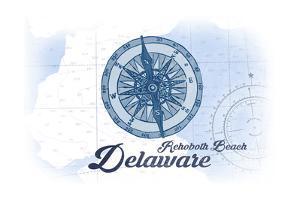 Rehoboth Beach, Delaware - Compass - Blue - Coastal Icon by Lantern Press