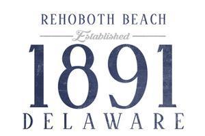 Rehoboth Beach, Delaware - Established Date (Blue) by Lantern Press
