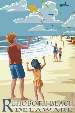 Rehoboth Beach, Delaware - Kite Flyers by Lantern Press