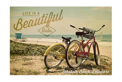 Rehoboth Beach, Delaware - Life is a Beautiful Ride - Beach Cruisers by Lantern Press