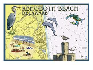 Rehoboth Beach, Delaware - Nautical Chart by Lantern Press