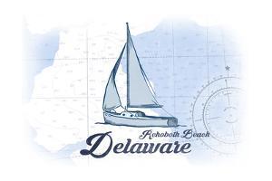 Rehoboth Beach, Delaware - Sailboat - Blue - Coastal Icon by Lantern Press