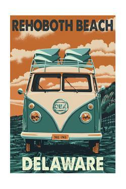 Rehoboth Beach, Delaware - VW Van by Lantern Press