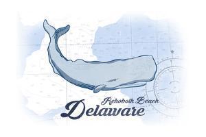Rehoboth Beach, Delaware - Whale - Blue - Coastal Icon by Lantern Press