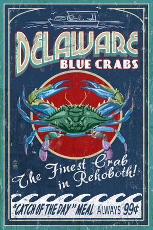Rehoboth, Delaware - Blue Crabs Vintage Sign