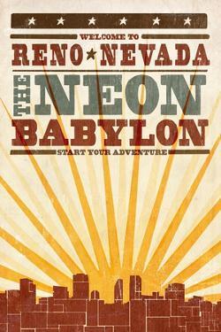 Reno, Nevada - Skyline and Sunburst Screenprint Style by Lantern Press