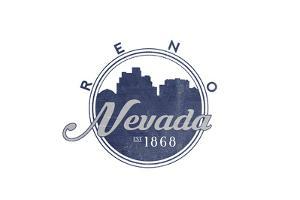 Reno, Nevada - Skyline Seal (Blue) by Lantern Press