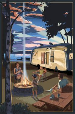 Retro Camper and Lake by Lantern Press