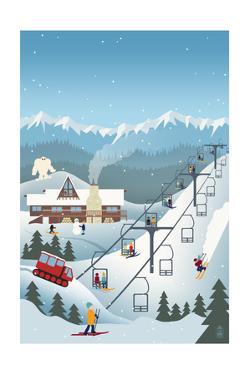 Retro Ski Resort by Lantern Press