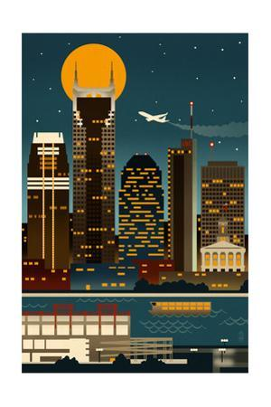 Retro Skyline - Nashville, Tennessee (no text) by Lantern Press