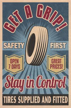 Retro Tire Ad - Vintage Sign by Lantern Press