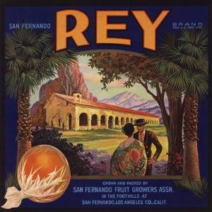 Rey Brand - San Fernando, California - Citrus Crate Label by Lantern Press