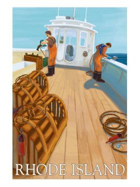 Rhode Island, Lobster Fishing Boat Scene by Lantern Press