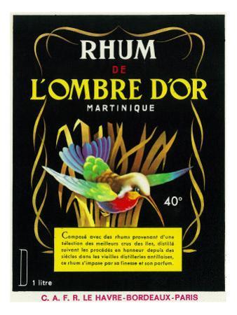 Rhum de Lombre d'Or Martinique Brand Rum Label by Lantern Press