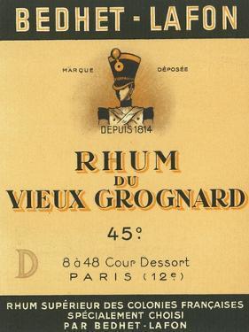Rhum du Vieux Grognard Bedhet-Lafon Brand Rum Label by Lantern Press
