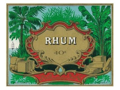 Rhum Forty Proof Rum Label by Lantern Press
