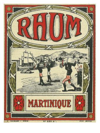 Rhum Martinique Brand Rum Label by Lantern Press
