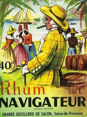 Rhum Navigateur Brand Rum Label by Lantern Press