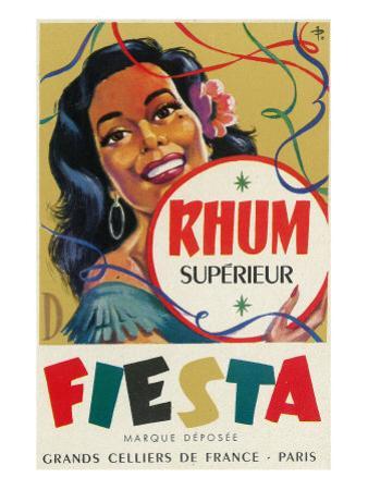 Rhum Superieur Fiesta Brand Rum Label by Lantern Press
