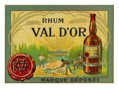 Rhum Val d'Or Martinique Brand Rum Label by Lantern Press