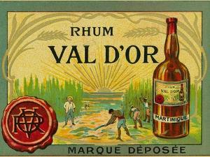 Rhum Val d'Or Martinique Brand Rum Label by Lantern Press