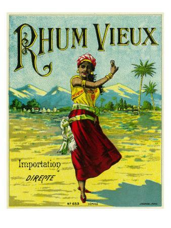Rhum Vieux Brand Rum Label by Lantern Press