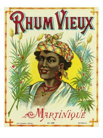 Rhum Vieux Martinique Brand Rum Label by Lantern Press