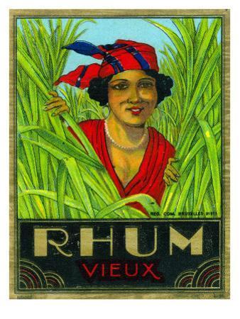 Rhum Vieux Rum Label by Lantern Press