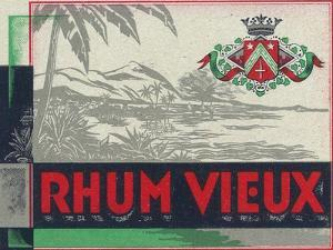 Rhum Vieux Rum Label by Lantern Press
